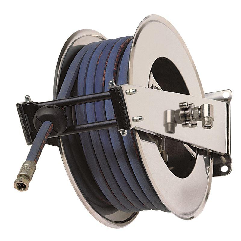 """โรลม้วนเก็บสายฉีดน้ำ RAMEX AV3000 Hose reels for water - high pressure Upto 200 bar/2900 psi โรลม้วนเก็บสายอัตโนมัติ ใช้กับเครื่องฉีดน้ำแรงดันสูง 0 - 200 บาร์ ผลิตจากอิตาลี ใช้ในอุตสาหกรรมฟาร์มปศุสัตว์ โรงงานอุตสาหกรรม อู่ซ่อมรถยนต์ เกษตรกรรม ก่อสร้าง เหมืองแร่ เรือเดินสมุทร ใช้กับสายขนาด 1/4"""" 5/16"""" 3/8"""" 1/2"""""""