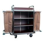รถเข็นเก็บผ้า Room Service YL-606 ช่องเก็บของ 2 ชั้น 2 ช่อง พร้อมถุงผ้า 2 ข้าง เหมาะสำหรับโรงแรม รีสอร์ต