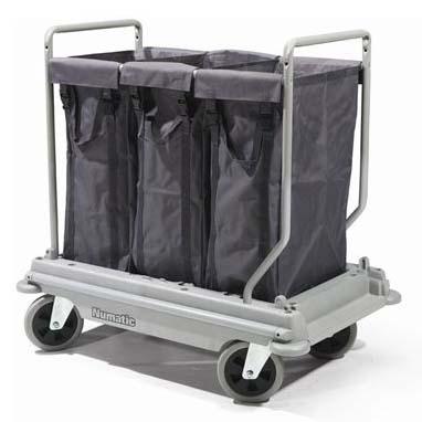 รถเข็นเก็บผ้า ถุงเก็บ 3 ใบ ขนาด 100 ลิตร